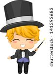 Illustration of Cute Little Boy Magician with Magic Wand - stock vector
