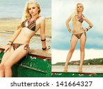Collage of portraits of a beautiful long hair blonde model with great tan posing on boat at the beach. Bikini fashion. Trendy luxurious accessories (necklace, bracelets). Cloudy weather. Outdoor shot - stock photo