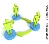 3d man group arrows connection teamwork concept - stock photo