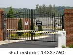 New Gated Community with focus on the Security Gate - stock photo