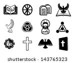 A Christian religious icon set with signs and symbols related to Christian themes - stock vector
