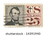 Old postage stamp from USA 25 cent - stock photo