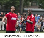 NEW YORK - JUNE 26: Emmerson Boyce and Oguchi Onyewu attend at The Sixth Steve Nash Foundation Showdown at Sarah D. Roosevelt Park on June 26, 2013 in New York City. - stock photo