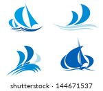 Yachts and boats on regatta for yachting sport design or idea of logo. Vector version also available in gallery - stock photo