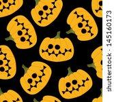 halloween pumpkin on black seamless pattern - stock vector