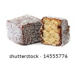 A lamington, isolated on white.  Traditional Australian sponge cake dipped in chocolate, then rolled in coconut. - stock photo