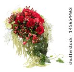 Floral composition with red roses and decorative Hypericum. Flower Arrangement. Isolated image on white background. - stock photo