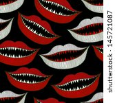 halloween bloody mouth seamless pattern on black - stock vector