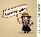 Trendy uruguiayan woman says welcome holding a wooden sign sketch. - stock photo