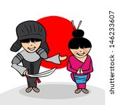 Japanese man and woman cartoon couple with national flag background. - stock photo