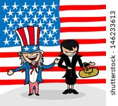 American man and woman cartoon couple with national flag background. - stock photo