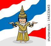 Thai woman cartoon couple with national flag background. - stock photo