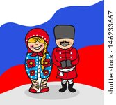 Russian man and woman cartoon couple with national flag background.  - stock photo
