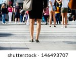 Women close up, people waiting at zebra crossing in Stockholm, Sweden - stock photo