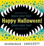 halloween yellow kids card - stock vector