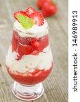 Eton Mess - Strawberries with whipped cream and meringue. Classic British summer dessert. - stock photo
