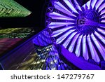BERLIN - APRIL 17: The dome of the modern Sony Centre at night on April 17, 2012 in Berlin. - stock photo