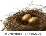 A couple gold nest eggs for the idea of a wealthy retirement fund. - stock photo