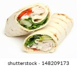 Chicken fajita wrap sandwich. - stock photo