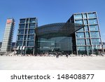 BERLIN, GERMANY - APRIL 19: Berlin main station on April 19, 2012 in Berlin. The station is the largests interchange station in Europe with about 300.000 passengers a day. - stock photo