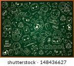 Vector Background With School Blackboard - stock vector