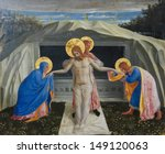 MUNICH, GERMANY - JUNE 22: Jesus Christ rising from the grave. Famous painting created by Fra Angelico (1387-1455) in Munich, Germany on June 22, 2013.  - stock photo