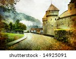 swiss castle - artistic picture in old painting style (from my castles collection) - stock photo