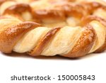Knot-shaped biscuits on a white background - stock photo