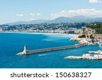 Mediterranean coastline near Nice, France - stock photo