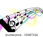 Illustration of Musical Notes and Staff - stock vector