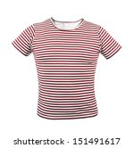 Red striped T-shirt. Front. - stock photo