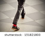 Man with red socks - stock photo
