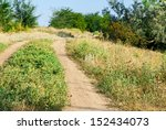 Country road in sunny day with no people - stock photo
