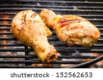 Closeup of barbecue Chicken at summer on grill - stock photo