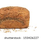 Half of rye bread with caraway seed. Isolated on a white background. - stock photo