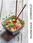 Chinese mix vegetables with prawns and noodles - stock photo