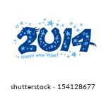 2014 year design with blue horse. - stock vector