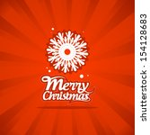 Retro Christmas card with snowflake. - stock vector