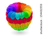 Raster version. Raspberry in rainbow colors isolated on white. - stock photo