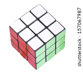 Six color cube puzzle with clipping path - stock photo