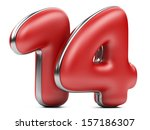 red inscription 14. 3d an illustration isolat on a white background - stock photo