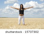 happy woman over sky background - stock photo