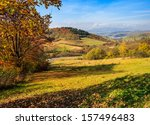 Autumn mountain landscape. tree and  meadow strewn with  foliage in the foreground. small village can be seen away in the mountains  - stock photo
