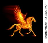 Raster version. Fire Pegasus in motion on black background. - stock photo