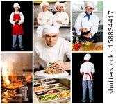 Restaurant chefs, collage concept. - stock photo