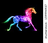Raster version. Running fire horse in spectrum colors on black background. - stock photo