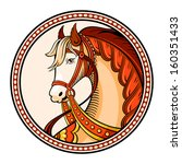 Horse emblem or sticker in Russian native style - stock vector
