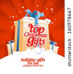 Top Christmas gifts design template. - stock vector