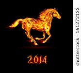Raster version. New Year 2014: running fire horse on black background. - stock photo