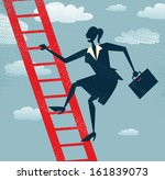 Abstract Businesswoman climbs up the Corporate Ladder.  Vector illustration of Retro styled Businesswoman climbing to the top of the corporate ladder of success. - stock vector